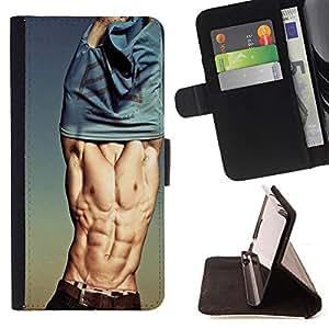 - Sexy Man MUSCLE/ Personalizada del estilo del dise???¡Ào de la PU Caso de encargo del cuero del tir????n del soporte d - Cao - For HTC One M9
