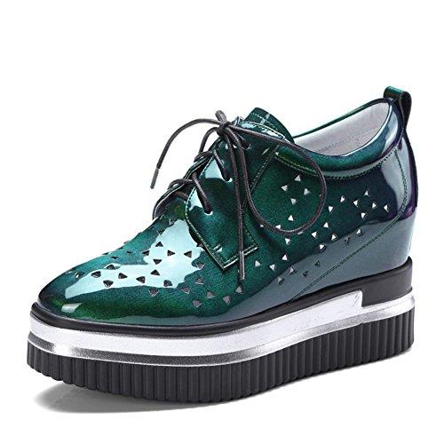 CAI Zapatos de tacón Alto para Mujer Zapatos de Mujer Zapatos Planos de tacón Alto Muffin Tie The Shoelace Summer Spring Ladies Low Help Shoes (tamaño : 36)