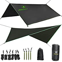 PYS outdoor Hammock Rain Fly – Tent Tarp for Camping. Essential Survival Gear. Stakes Included. Compact, Lightweight. Fast Easy Setup. Made from 210T Ripstop Polyester Taffeta (10' (L) x 10' (W))