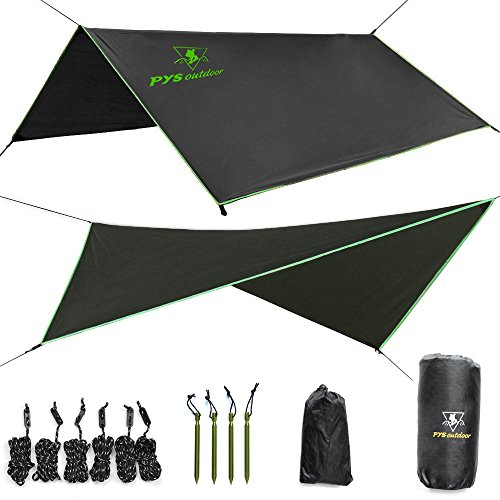 Hammock Rain Fly– Tent Tarp for Camping. Essential Survival Gear. Stakes Included. Compact, Lightweight. Fast Easy Setup. Made from 210T Ripstop Polyester Taffeta (10′ (L) x 10′ (W))