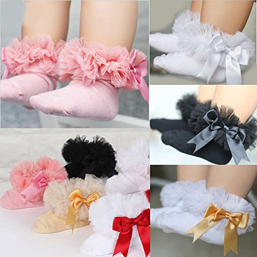 ONE'S Newborn Infant Baby Toddler Girls Princess Bowknot Lace Ruffle Frilly Trim Ankle Sock (0-2 Years, Black) by ONE'S (Image #4)