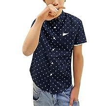 Allegra K Men Point Collar Button Down Short Sleeve Anchor Pattern Casual Shirt