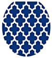 Toilet Tattoos, Toilet Seat Cover Decal, Navy Quatrefoil , Size Round/standard