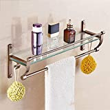 GX Creative Space aluminum glass bathroom shelves, Bathroom Towel Holder Shelf,drawing process, wall-mounted. 40cm/50cm/60cm Assembly Required Home Decoration (Size : 60cm)