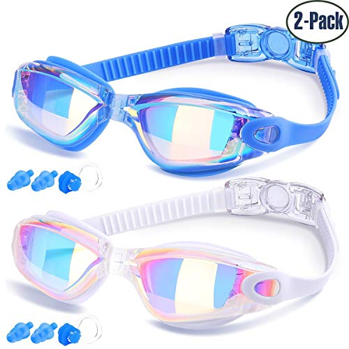 Silicone Skin Solid Blue (Swim Goggles, Pack of 2, Swimming Goggles for Adult Men Women Youth Kids Child, Triathlon Equipment, with Mirrored & Clear Anti-Fog, Waterproof, UV 400 Protection Lenses)
