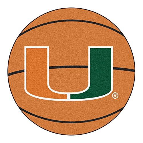 NCAA University of Miami Hurricanes Basketball Shaped Mat Area Rug