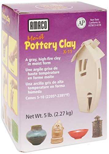 Amaco Moist Pottery Clay, 5-Pound, Grey