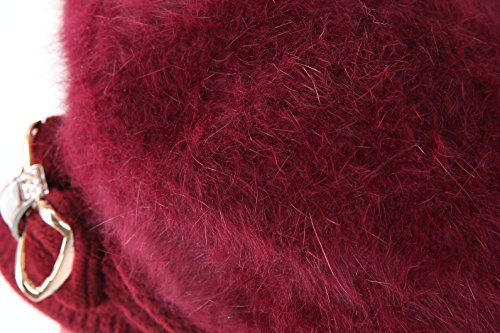 Surblue Lady Crystal Bow Warm Cabled Angora Knit Winter Beanie Crochet Beret Hats Newsboy Caps Photo #3