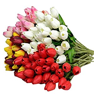 10 Pack Artificial Tulip Flower Branch Latex Plants Holland Mini Tulip Real Touch for Party Home Hotel Event Christmas Gift Decoration Wedding Bouquets Artificial Silk Flowers Arrangement Bouquet 48