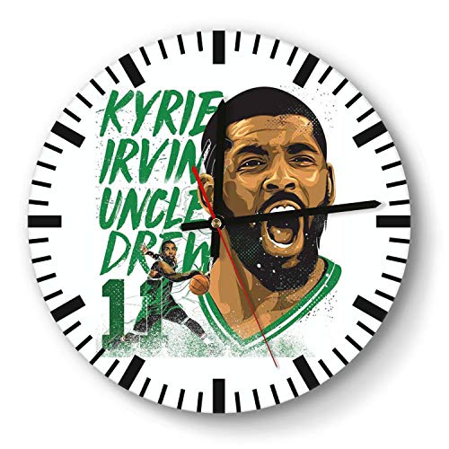 Decorative Basketball Game Theme Wooden Wall Clock 11 Inch Diameter Acrylic Non Ticking Silent Sweep Movement Simple Battery Operated Easy to Hang Home Office School Indoor Kitchen Livingroom