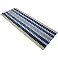 Custom Size Chain Hallway Runner Rug Non-Slip (Slip Resistant) Rubber Back, Anti-Bacterial, 26 Inch Wide x Your Choice of Length Size 6 Color Options, Gold Collection, Blue, 26 Inch X 9 feet