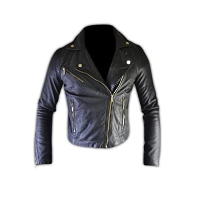 SouthBeachLeather Women Black Slim Biker Leather Jacket (L) at Women's Coats Shop