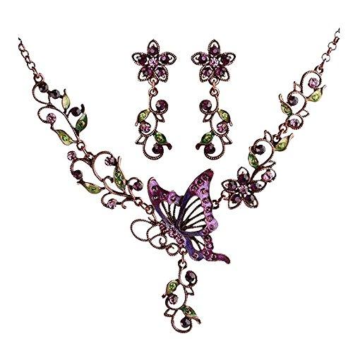 [Leegoal(TM) Fashion Women Retro Butterfly Pierced Collar Necklace Earrings Sets(Butterfly)] (Butterfly Costume Jewelry)