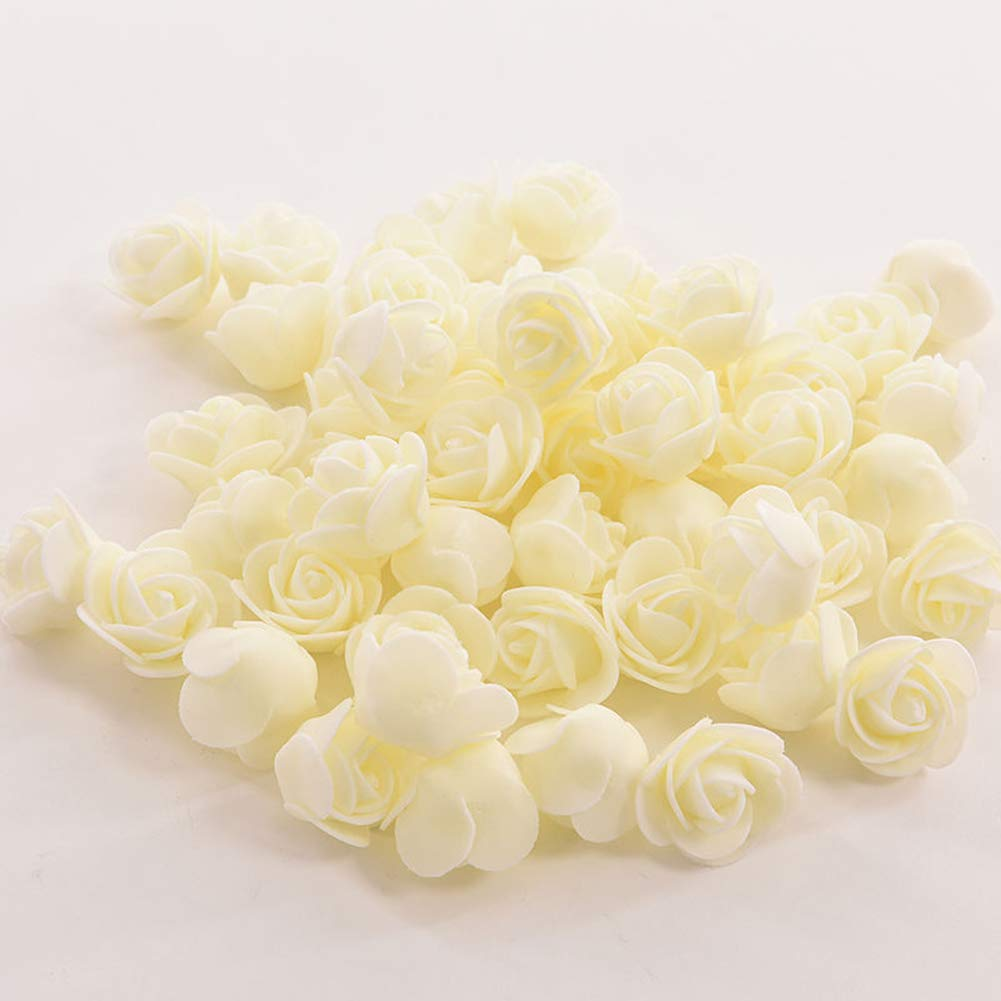 Dds5391 New 50 Colorfast Foam Roses Artificial Flower Head Wedding Bride Party Home Decor - Cream