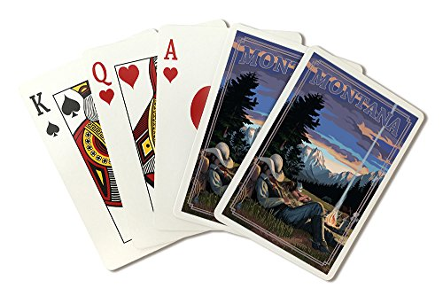 Montana - Cowboy Camping Night Scene (Playing Card Deck - 52 Card Poker Size with Jokers) ()