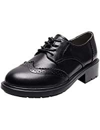 Rismart Women's Formal Dress Wingtip Lace Up Oxfords Leather Brogue Shoes
