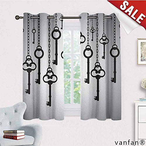 LQQBSTORAGE Antique,Curtains Blackout 2 Panels,Silhouettes of Old Keys Hanging Chain Links Unlocking Secure Home Opener,Curtains for Kitchen Windows,Light Grey Black -