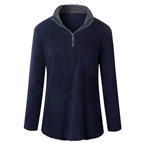 Amo & Co Women Long Sleeve Casual Zipper Collar Sherpa Fleece Pullover Jacket Outwear Sweatshirt (Navy, M)