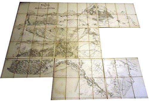 Umgebung von Bruck an der Leitha. 1 Wr. Zoll = 400 Wr. Klafter oder 1:28,800 der natürlichen Größe. Nr. I - IX (es FEHLT Nr. VI).