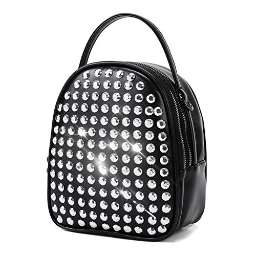 JNML PU leather diamond-studded backpack simple box women's designer,Black