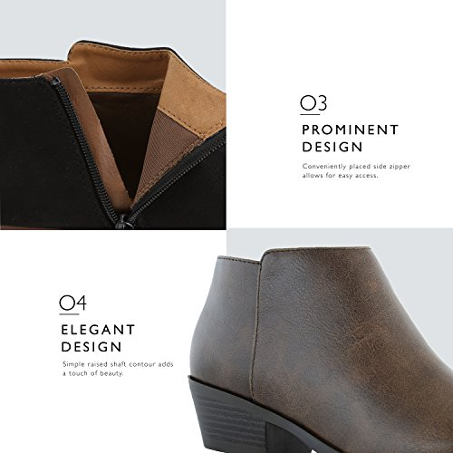 Toe brown Pointed Boots Heel Western Comfortable Ankle Stylish pu Booties DailyShoes Chunky Women's Cowboy 8q7TaWxwZ