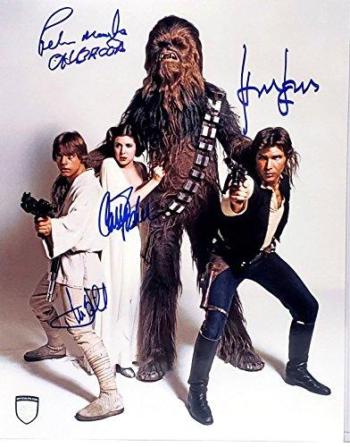 Star Wars original cast reprint signed autographed photo Luke, Leia, Han + Chewbacca