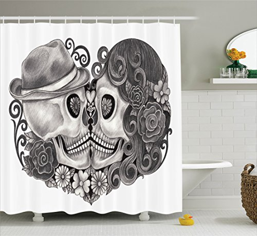 Ambesonne Gothic Decor Collection, Art Skull with Hat All Saints Day Mexico Culture Festival Floral Illustration, Polyester Fabric Bathroom Shower Curtain, 84 Inches Extra Long, Grey White Black