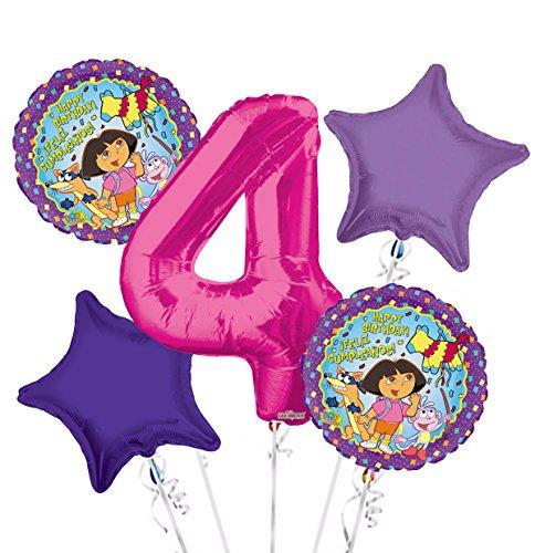 Explorer 2 Balloons - Dora the Explorer Balloon Bouquet 4th Birthday 5 pcs - Party Supplies