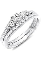 0.40 Carat (ctw) 14K Gold Round Diamond Ladies 5 Stone Bridal Engagement Ring Matching Band Set