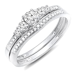 Dazzlingrock Collection 0.40 Carat (ctw) 14K Gold Round Diamond Ladies 5 Stone Bridal Engagement Ring Matching Band Set