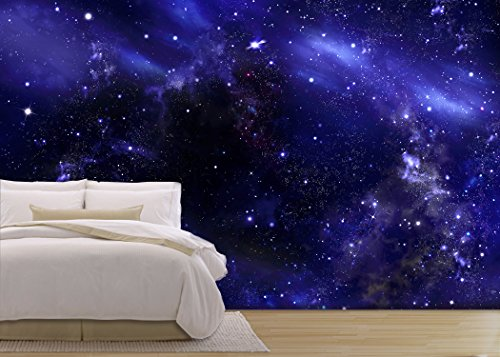 wall26 - Starry Night Sky Deep Outer Space - Removable Wall Mural | Self-adhesive Large Wallpaper - 100x144 inches Outer Space Wall Mural