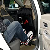 Autofay Kick Mats Back Seat Protector w/Storage Organizer Pocket- Universal Fit for Car, Truck, SUV, or Van - Rear Auto Bucket Seat Upholstery Protective Cover-2 Pack(Black)