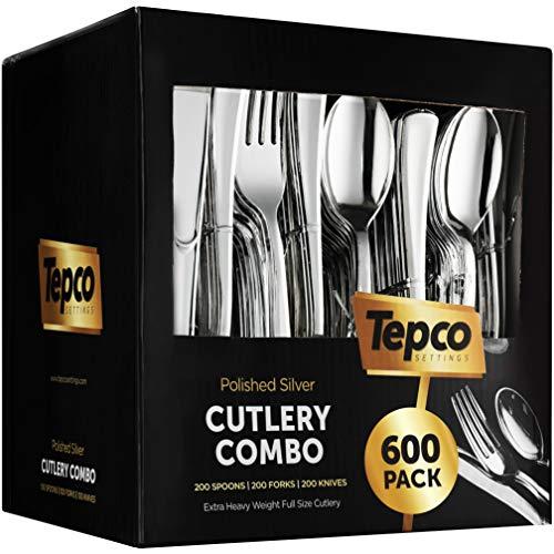 600 Plastic Silverware Set – Silver Plastic Cutlery Set – Disposable Silverware Set – Flatware Set – 200 Plastic Silver…