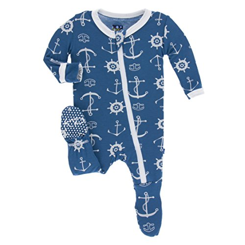 - Kickee Pants Little Boys Print Footie with Zipper - Twilight Anchor, 4T