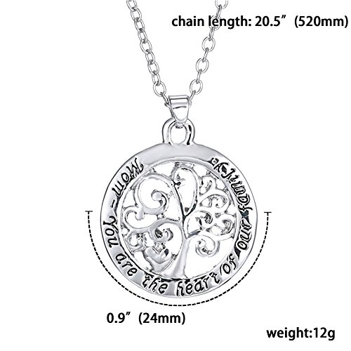 HeyGirl You Are The Heart Of You Family Round Silver Chain Filigree Tree Pendant Necklace