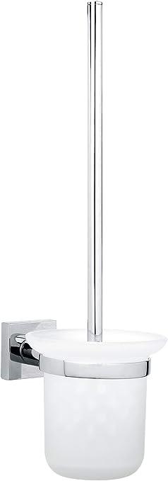 Tesa Hukk porta scopino wc fino a 6/kg , 390/mm x 115/mm x 165/mm cromato, con puntale oesung, alta forza HALTE