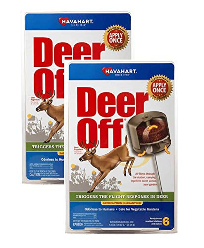 Havahart Deer - Havahart DO5600-B Deer Off Weatherproof Deer Repellent; Weatherproof; Odorless To Humans; Safe for Vegetable Gardens; Ready-To-Use; 6 Per Pack (Pack of 2)