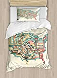 Ambesonne World Map Duvet Cover Set Twin Size, Underground Map of America with Colorful Retro Design New World Western Theme, Decorative 2 Piece Bedding Set with 1 Pillow Sham, Multicolor