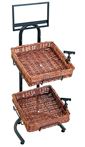 2-Tier 2 Square Willow Basket Display with Sign Frame and Sign Clips