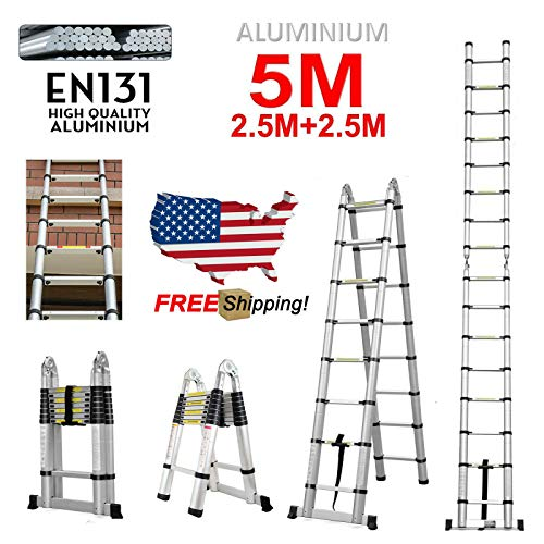 16.5 FT Telescopic Ladder Extendable Aluminum Multi-Function Ladder A-Frame & Straight Type 330 Pound Capacity Folding Portable for Indoor Outdoor DIY 5M ()