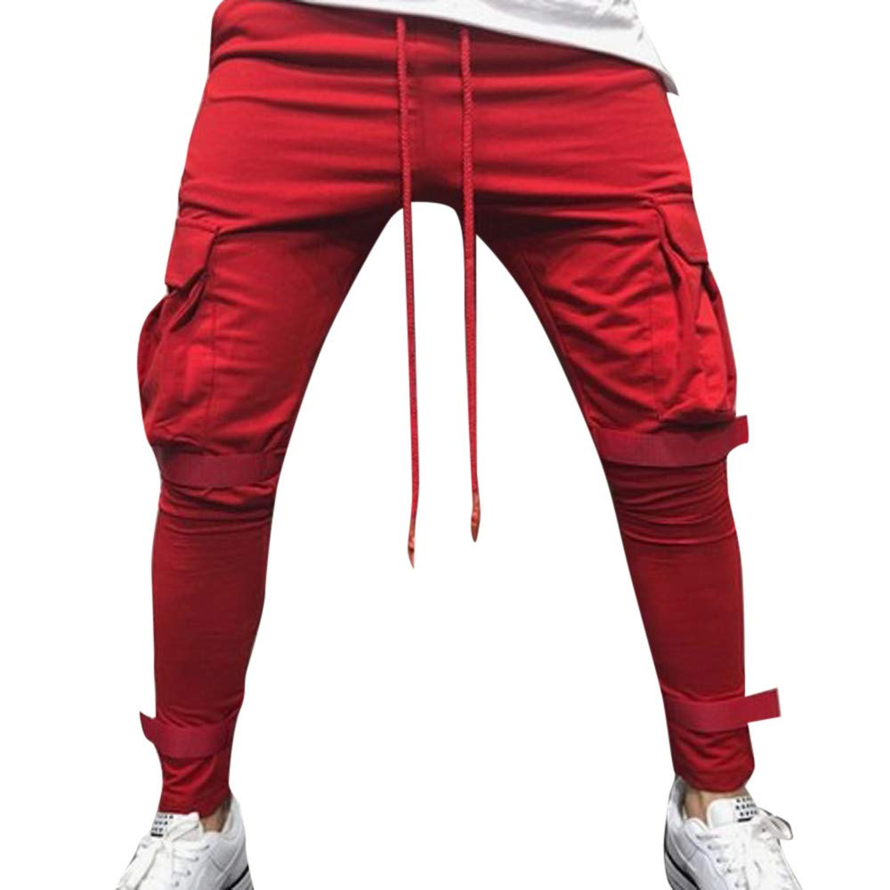 Men's Joggers Sweatpants Ankola Men's Active Sports Running Workout Pant with Pockets Casual Trouser (XXXL, Red)