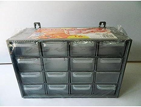 Caja de almacenamiento 16 cajones recinto tornillo clavos 27 cm) gris: Amazon.es: Bricolaje y herramientas