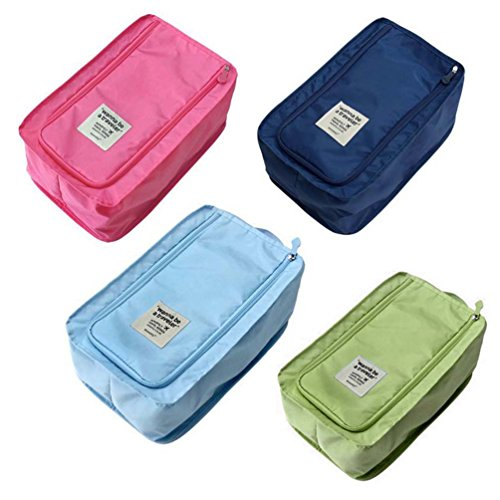 (Set of 4, 4 Color) Nylon & Mesh Travel Portable Tote Shoe Pouch Available Waterproof Storage Bag with Zipper, 12.6*7.87*5.12 inch by KM-Storage Bag