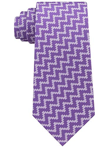 Sean John Men's Angular Herringbone Silk Tie Purple Necktie