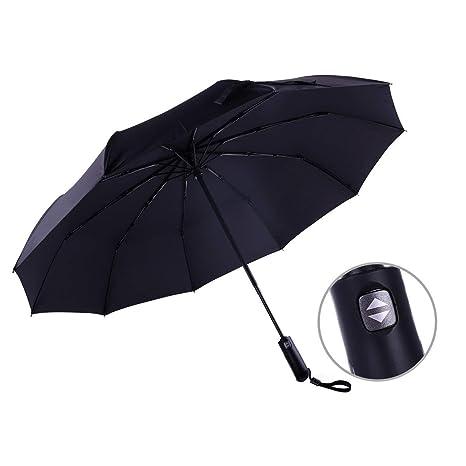 Paraguas plegable del viaje de Loplay, paraguas a prueba de viento automático compacto de 10