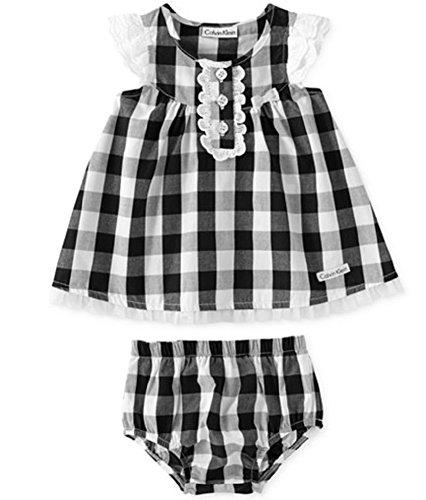 UPC 883608639519, Calvin Klein Baby Girls 2-Piece Dress & Diaper Cover Set (Black/White, 24 Months)