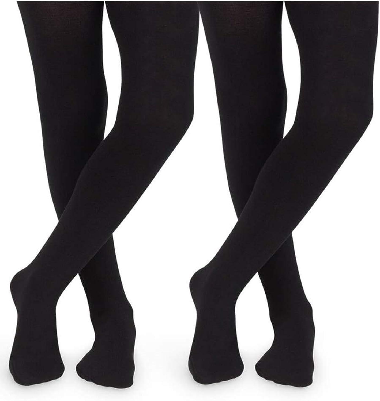 Jefferies Socks Girls Little Classic Cotton Tights 2 Pair Pack