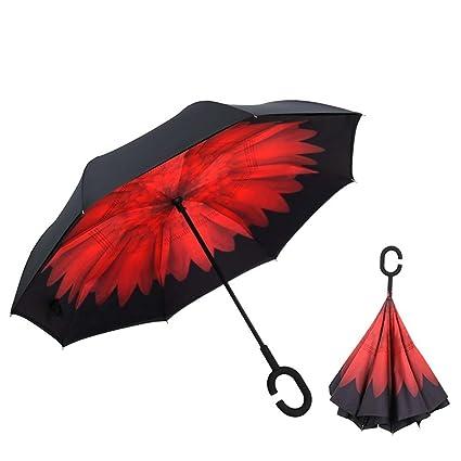 DIDIDD Paraguas invertido manos libres creativo doble paraguas soleado invertido paragolpes de hombre y mujer con