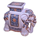 "18"" Ceramic Hand Painted Elephant Garden Stool (Multi Color)"