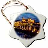 3dRose Danita Delimont - Bridges - Spain, Andalusia. Cordoba. Roman bridge across the Guadalquivir river. - 3 inch Snowflake Porcelain Ornament (orn_277894_1)